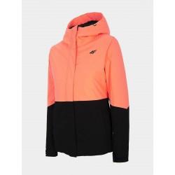 4F Women's ski jacket Coral pink neon